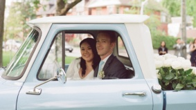 Real Weddings: An intimate ceremony in the back of a vintage pickup truck