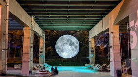 A closer look at the massive moon replica under the Gardiner Expressway