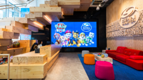 Inside Spin Master's tricked-out office, with a giant Etch A Sketch, a Jenga-inspired staircase and toy library