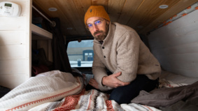 """""""One night I woke up with ice all over my face"""": This mature student sleeps in his camper van to afford school"""
