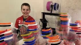 """""""We cut the plastic shields with a paper slicer from my dad's office"""": How a 13-year-old tech whiz is 3-D printing face masks from home"""