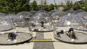 Inside Lmnts Outdoor Studio, where Torontonians can practise hot yoga in geodesic pods