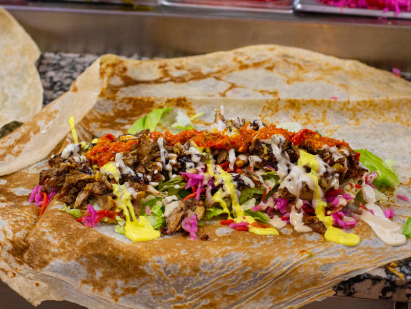 Sort-of Secret: This excellent shawarma stand is hidden in the back of a convenience store