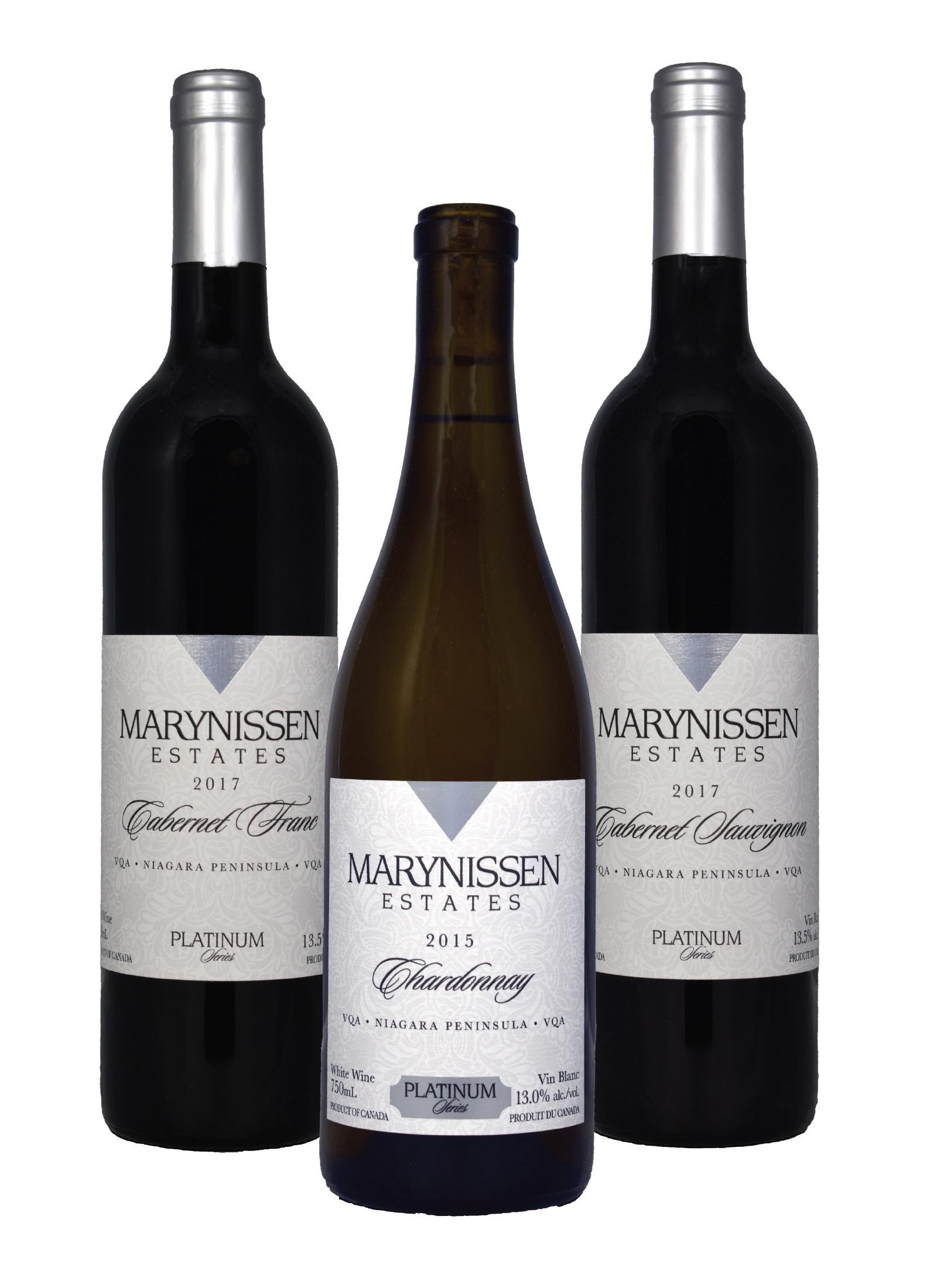 Three bottles of wine from Marynissen Estates.