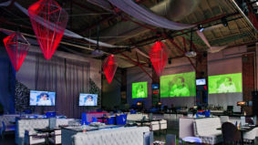 Inside the new Toronto Sport Club, a 30,000-square-foot, member's-only sports bar specifically designed for physical distancing