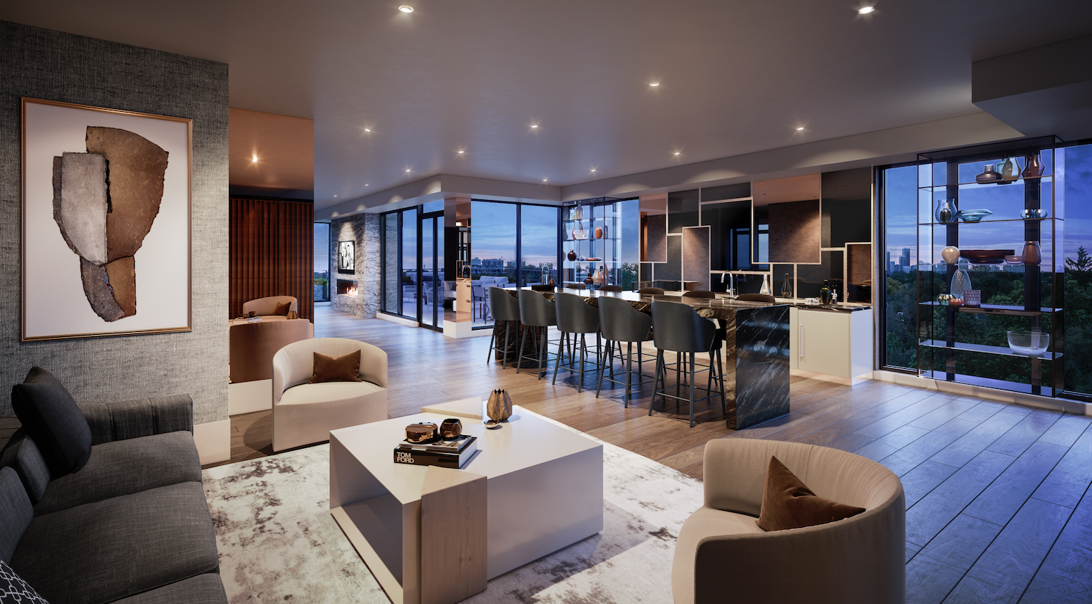 Modern and spacious party room at 250 Lawrence
