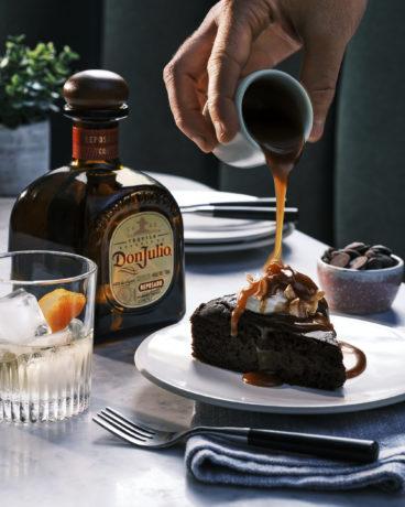 Chocolate avocado cake with tequila caramel