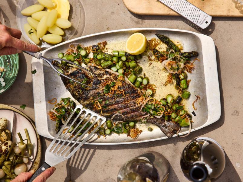 How to make Crosley's chef Joachim Hayward's grilled sea bream with crispy shallots