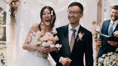 When lockdowns lifted, this couple added 70 guests to their backyard wedding