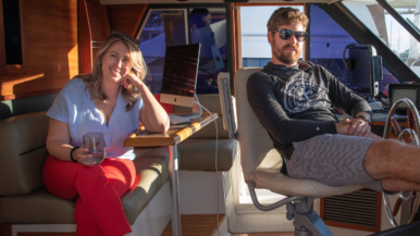 This couple paid $150,000 for a motor yacht and moved in